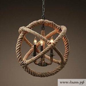 Необычное сочетание металла и декоративной шнуровки для создания эксклюзивной люстры